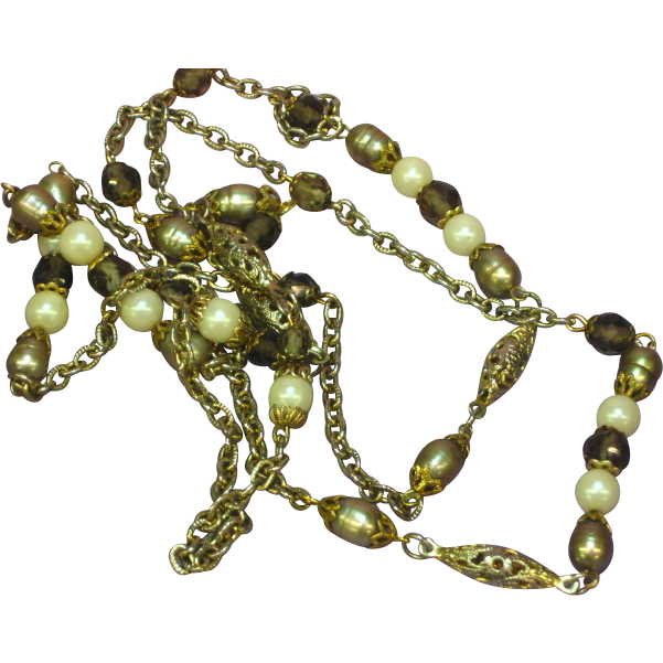 "Smoky Quartz  Crystal  Peacock Color Cultured Pearls  Golden Green  Sautoir  43""  Necklace"