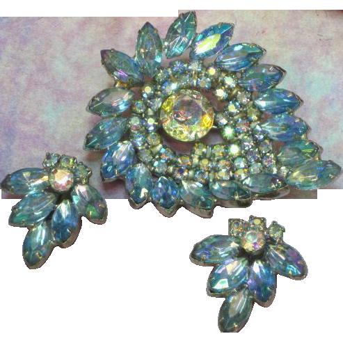 Rhinestones Blue A/B Massive Brooch Pin and Earrings Demi Parure