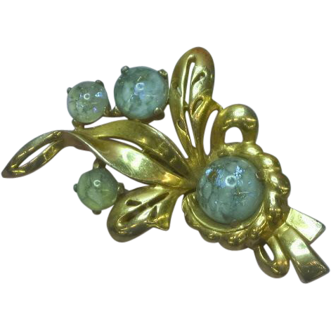 Mazer Bros. Saphiret Glass Signed Gold-plated Brooch