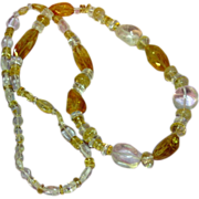 Citrine and Rock Crystal Faceted and Smooth Natural Semi-Precious Gemstones Chunky Necklace