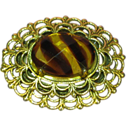 Freirich Antiqued Gold-tone Simulated Art Glass Stone Pin Brooch