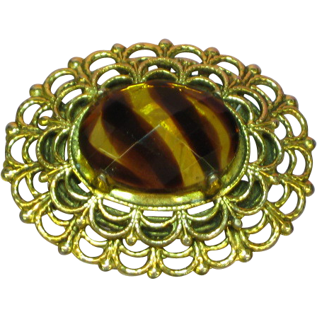 Freirich Antiqued Gold-tone Simulated Art Glass Stone Pin