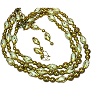Deauville Signed Lovely 3-Strand Faux Pearl Gold Bead Necklace Earrings Demi-Parure