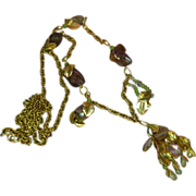 Watermelon Large Faceted Tourmaline  Citrine  Ametrine  Gold Plate Dangle Necklace