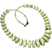 Authentic Vintage Sterling Silver Native American Indian White Buffalo Turquoise Necklace