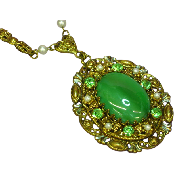 50% OFF SALE   West Germany Ornate Filigree Pendant Rhinestones Green Cats-Eye Center  Necklace