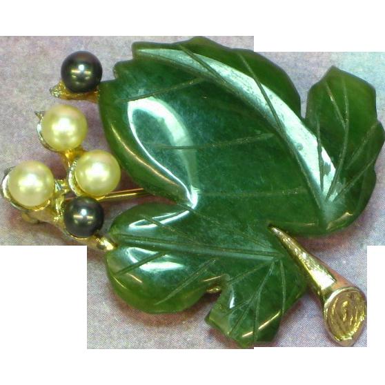 Swoboda Marked Gemstones Jadeite & Pearl Brooch Pin