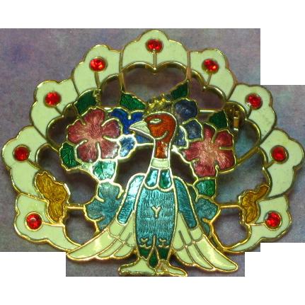 Cloisonne Enamel & Rhinestones Figural Peacock Brooch Pin