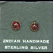 Native American Indian Vintage Sterling Silver Garnet Stud Earrings