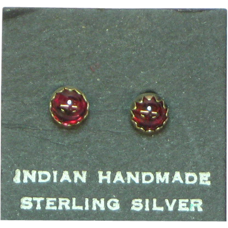 Native American Indian Vintage Sterling Silver Garnet Stud Earrings