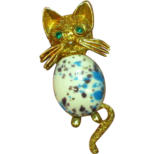 Easter Egg Cabochon Belly Green Eyed Kitty Cat Figural Pin Brooch