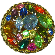 Rhinestones Large Bright and Beautiful Round Domed Pin Brooch