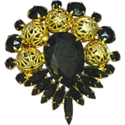 Juliana Deliza and Elster D&E Black Rhinestones Filigree Balls Brooch Pin