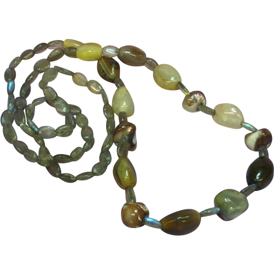 "Gemstones Labradorite Agate Shell OOAK One of a Kind 28"" Single Strand Necklace"
