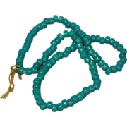 """50% OFF Art Glass Turquoise Color Trade Beads Long 24"""" Glass Necklace"""