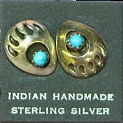 Native American Indian Sterling Silver Bear Claw Shadow Box Sleeping Beauty Turquoise Pierced Earrings