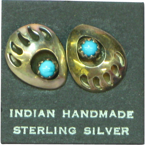 Native American Indian Sterling Silver Bear Claw Shadow Box Sleeping Beauty Turquoise Pierced Earrings