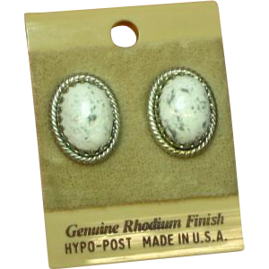White Buffalo Turquoise Pierced Rhodium Plate NOS Pierced Earrings