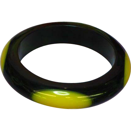 Sobral Brazilian Designer Resin Dots Yellow on Black Bangle Bracelet