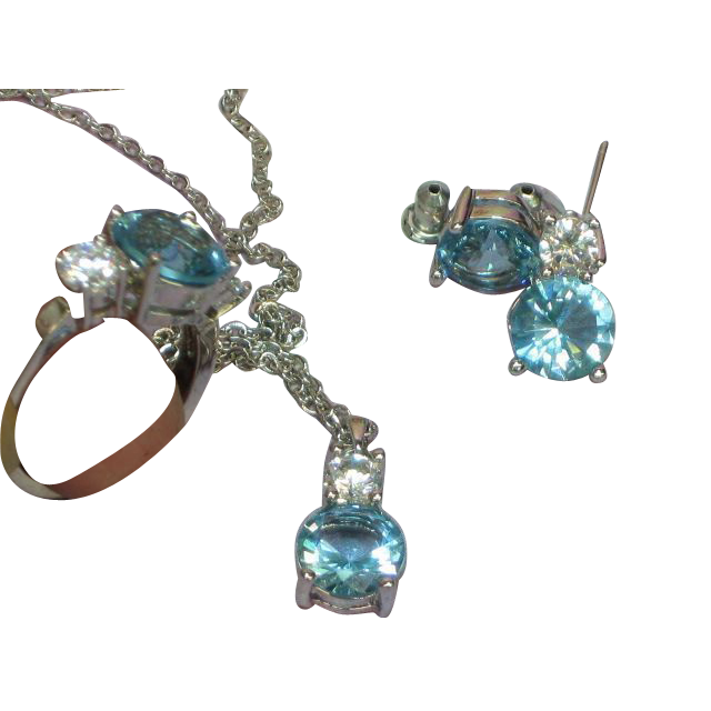 Crystal London Blue Topaz Necklace,Earrings,and Ring Set Demi Parure
