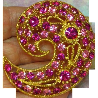 M.Jent Signed Paisley Shape Large Pink Rhinestone Brooch Pin