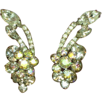 Juliana D&E Clear and A/B Rhinestone Elegant Vintage Clip Earrings