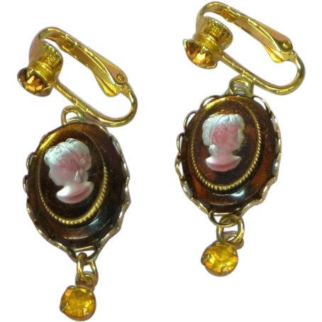 D&E for Celebrity Signed Cameo Large Ornate Clip Earrings.