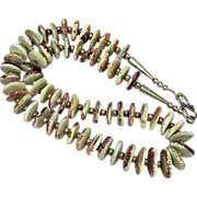 Native American Indian Spiny Oyster, Lavender Hand Rolled Beads Sterling Silver Necklace  Earrings Set Demi Parure