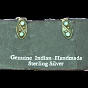Native American Indian Zuni Sleeping Beauty Dot Snake Eye Turquoise Clip Earrings
