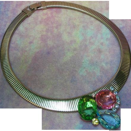Juliana D&E Rhinestone Cobra Collar Choker Vintage Book Piece Necklace
