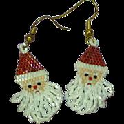 Long Dangle Beaded Santa Clause Pierced Vintage Earrings