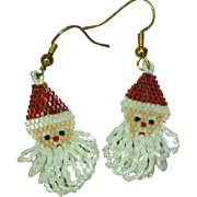 Long Dangle Beaded Santa Clause Pierced Vintage Earrings