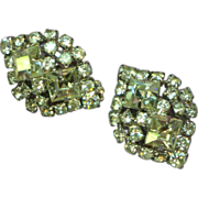Gale Rothstein Rhinestones Clear Crystal Clip Earrings