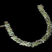 50% OFF SALE  Etched Romantic Engraved Floral Design Vintage Sterling Silver Link Bracelet