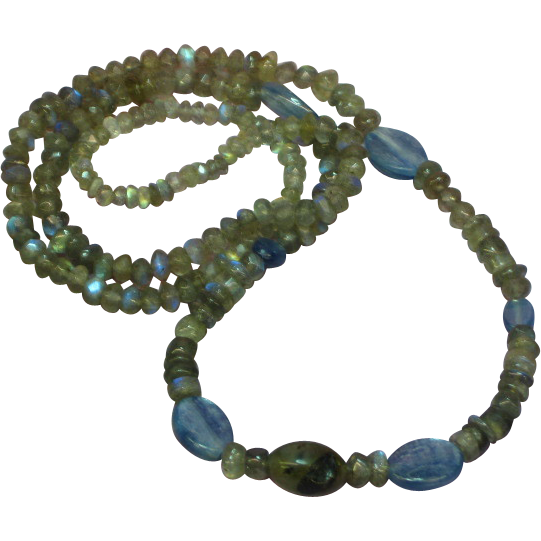 Gemstone Labradorite Necklace Enhanced with Blue Kyanite Gemstone