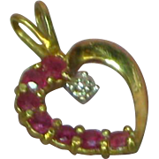 10k Yellow Gold Ruby & Diamond Heart Necklace Pendant