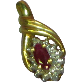 10K Yellow Gold Ruby & Diamond Necklace Pendant