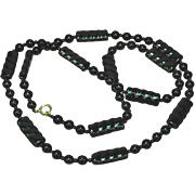 """Art Deco Black Glass and Carved Onyx Beaded 28"""" Necklace"""