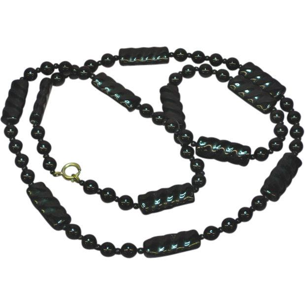 "Art Deco Black Glass and Carved Onyx Beaded 28"" Necklace"