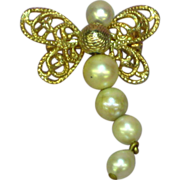 Pearl Articulated Gold Tone Butterfly Pin Brooch