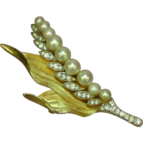 Majorica Heavy  Gold-Plated  Cream Pearl and Rhinestones Cluster Leaf Brooch Pin