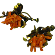 Coral Victorian Hand Wired Branch Coral Screw Back Earrings
