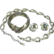 Monet Dimensional Impressive Necklace Bracelet Earrings Silver tone Set Full Parure