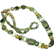 "Gemstones Agate Jaspers Chalcedony  24"" Necklace"
