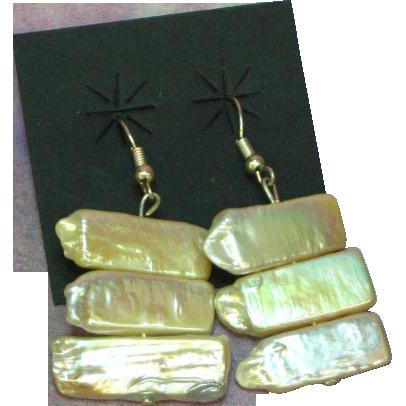 50% OFF SALE  Huge Lustrous Biwa Stick Cultured Pearl Sterling Silver Dangle Pierced Earrings