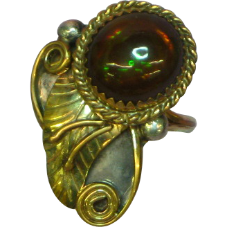 Native American Indian Gold Filled over Sterling Silver Fire Agate Ring