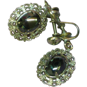 50% OFF SALE Vintage  Sterling Silver Faceted Hematite Filigree Screw Back Earrings