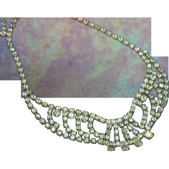 50% OFF SALE  Vintage Emerald Cut Clear Rhinestone Necklace