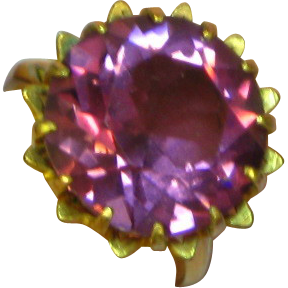 Color Change Vintage Unequivocal Synthetic Alexandrite Gold Filled Cocktail Ring