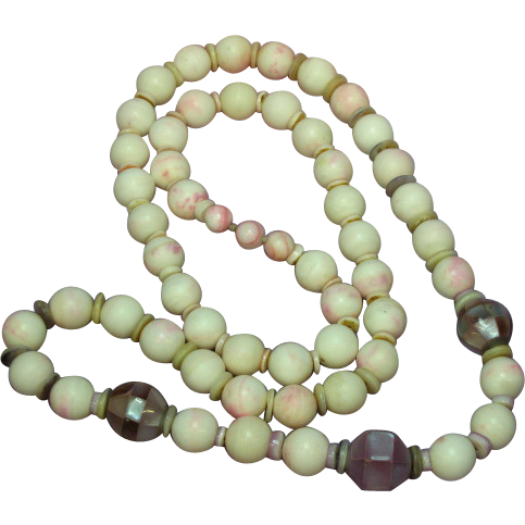 "Pink Agate from Brazil with Shell and Inlaid Lavender Abalone Beads 26"" Necklace"